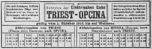 orario tram opicina 1914